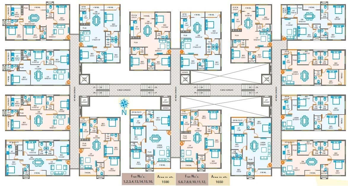 Oxygen Towers at Venkateswara Nagar, Rajahmundry | Floor Plans Overview